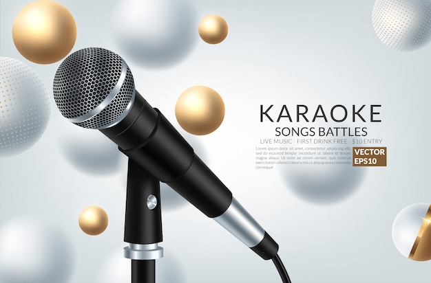 Banner con fiesta de karaoke de micrófono e inscripción en el fondo de arte.
