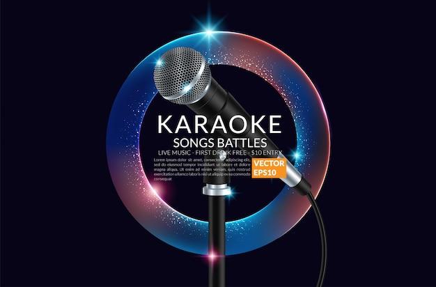 Banner de fiesta karaoke con micrófono.
