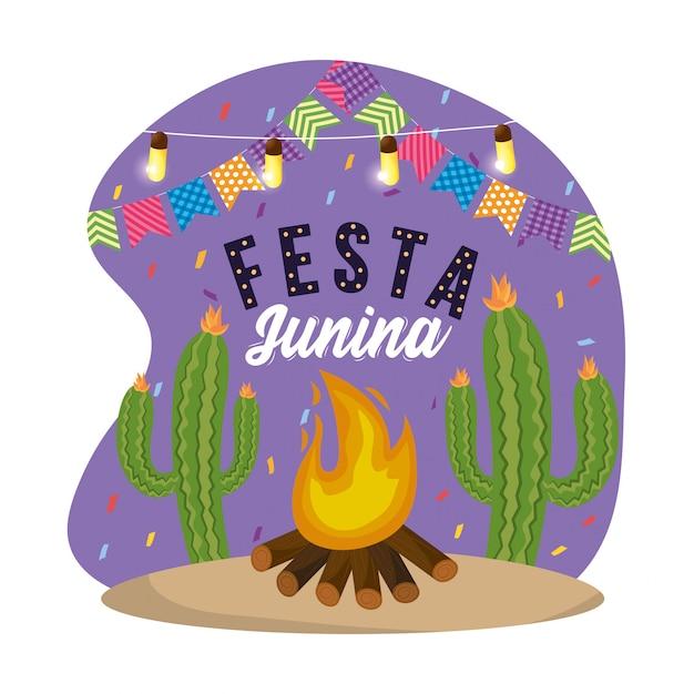 Banner de fiesta con luces y plantas de cucus
