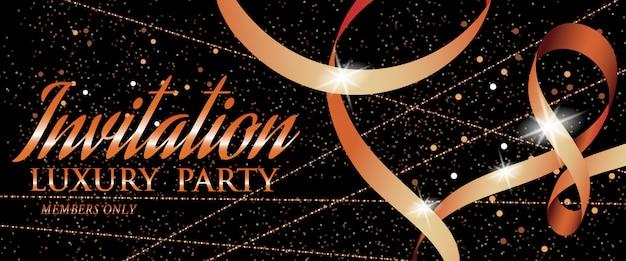 Banner de fiesta de lujo de invitación con cinta y chispas