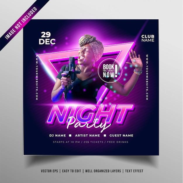Banner de fiesta de música nocturna