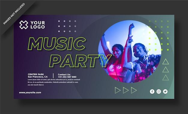 Banner de fiesta musical y publicación en redes sociales.