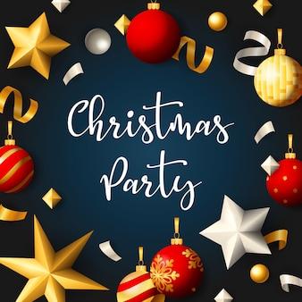 Banner de fiesta de navidad con bolas y cintas sobre fondo azul.