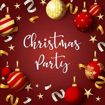 Banner de fiesta de navidad con bolas y cintas sobre fondo rojo.