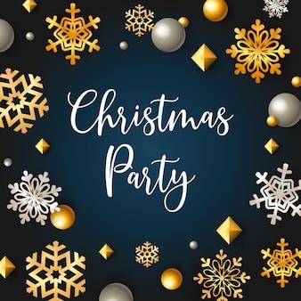 Banner de fiesta de navidad con estrellas y escamas sobre fondo azul.