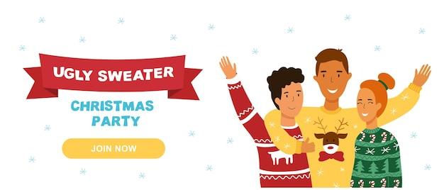 Banner de fiesta de navidad de suéter feo.