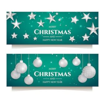 Banner de fiesta navideña con decoración en plata.