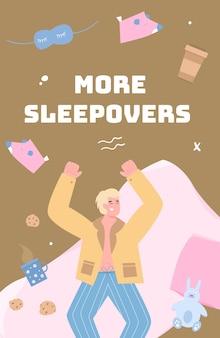 Banner de fiesta de pijamas con hombre alegre divirtiéndose ilustración de dibujos animados