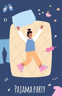 Banner de fiesta de pijamas con niña alegre en la ilustración de vector de dibujos animados de cama