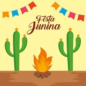 Banner de fiesta con planta de cactus y fuego de leña