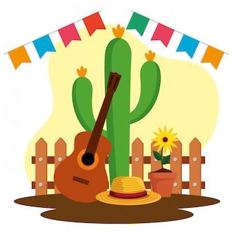 Banner de fiesta con planta de cactus y guitarra
