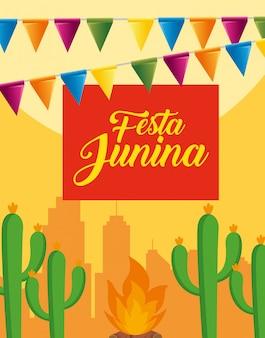 Banner de fiesta con plantas de cactus y fuego de leña