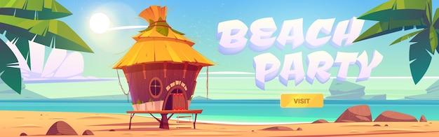 Banner de fiesta en la playa con bungalow