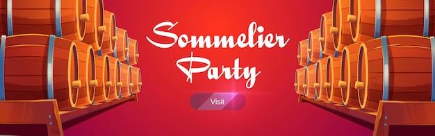 Banner de fiesta de sommelier con barriles de vino en rojo