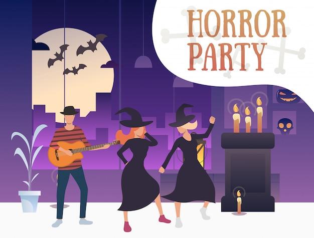Banner de fiesta de terror con brujas bailando y guitarrista