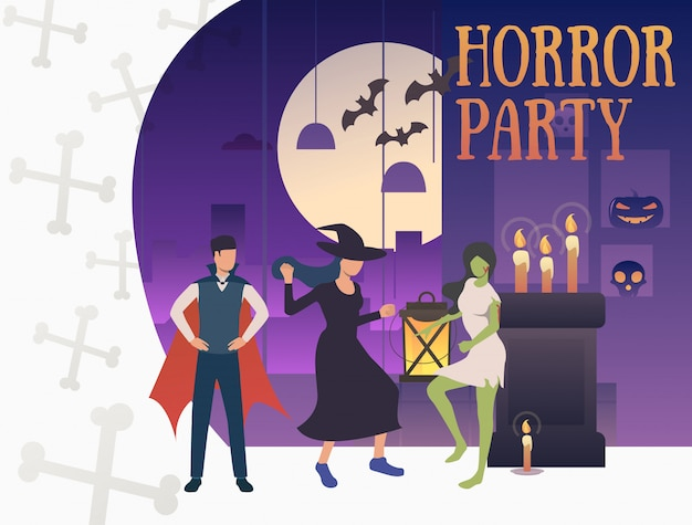 Banner de fiesta de terror con monstruos hilarantes