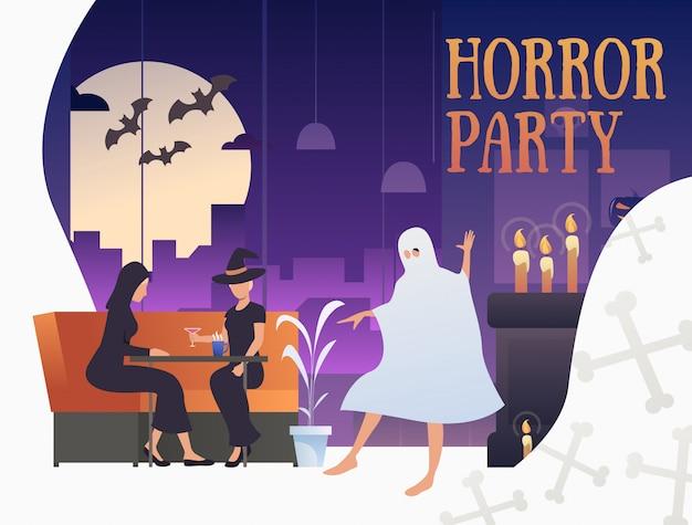 Banner de fiesta de terror con personajes de halloween en pub