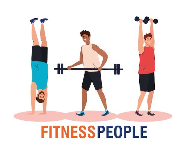 Banner fitness personas, hombres jóvenes haciendo ejercicios, ejercicio de recreación deportiva