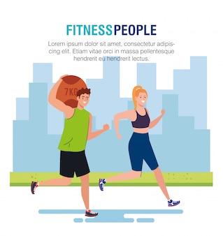 Banner fitness personas, pareja practicando ejercicio al aire libre