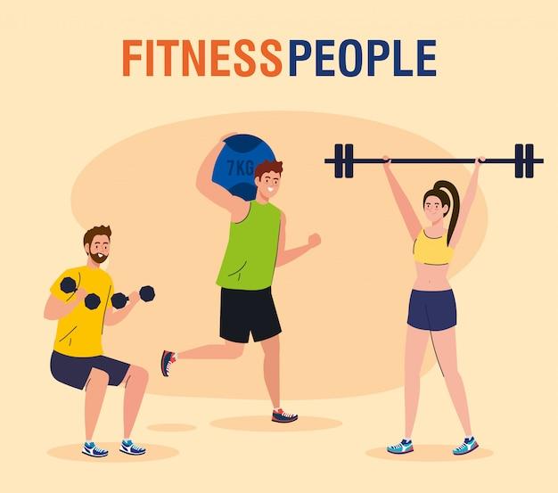 Banner fitness personas, personas que practican ejercicios, ejercicio de recreación deportiva