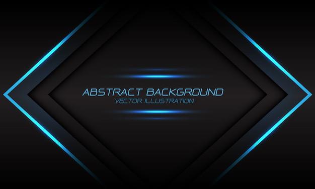 Banner de flecha de llama luz azul abstracta sobre fondo futurista gris oscuro.