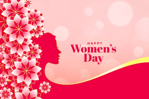 Banner de flor atractiva feliz día de la mujer
