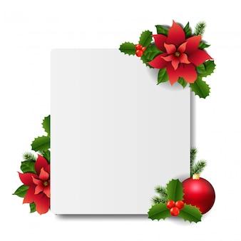 Banner con flor de pascua roja de navidad