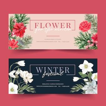 Banner de floración de invierno con flor de pascua, galanthus