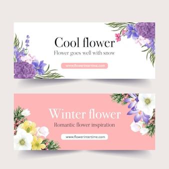Banner de floración de invierno con peonía, coronario, galanto