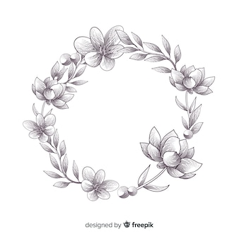 Banner floral dibujado a mano realista