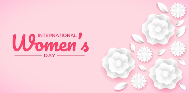 Banner floral estilo papel del día internacional de la mujer