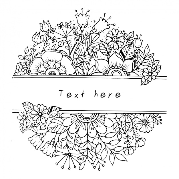 Banner floral horisontal botánico.
