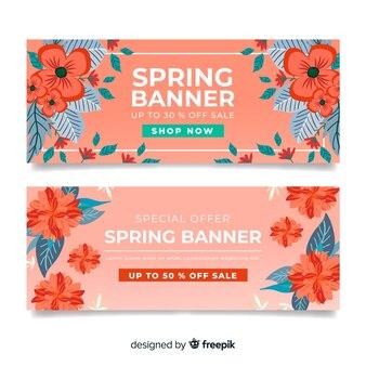Banner floral rebajas primavera
