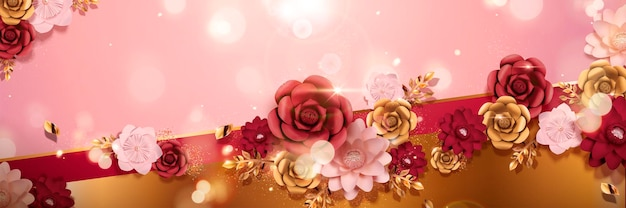 Banner de flores de papel romántico con efecto bokeh en ilustración 3d