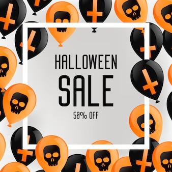 Banner de folleto de halloween. fondo morado con globos, con cruces y calaveras.