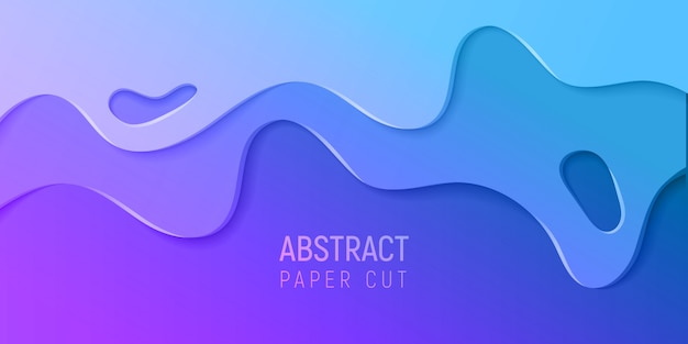 Banner con fondo abstracto de limo con ondas de corte de papel púrpura y azul. ilustración vectorial
