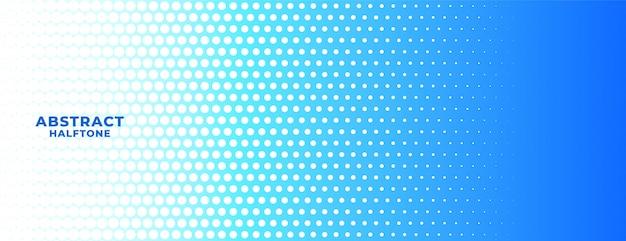 Banner de fondo ancho de semitono azul y blanco abstracto