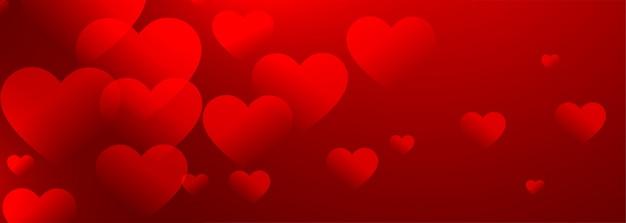 Banner de fondo de corazones rojos preciosos con espacio de texto
