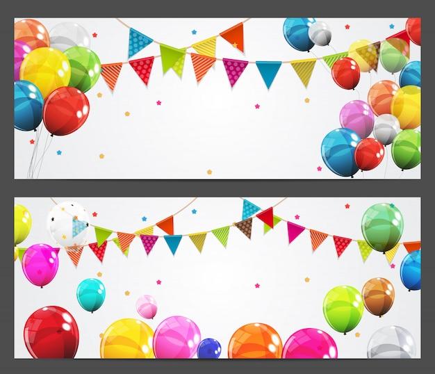 Banner de fondo de fiesta con banderas y globos