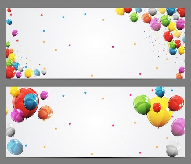 Banner de fondo de fiesta y globos