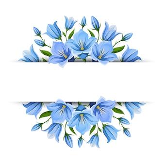 Banner de fondo con flores bluebell. ilustración.