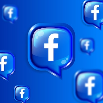 Banner de fondo de iconos de facebook flotante de redes sociales