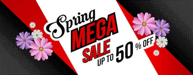 Banner de fondo plano de venta de primavera