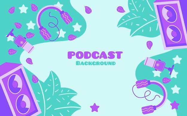 Banner de fondo de podcast con logotipos