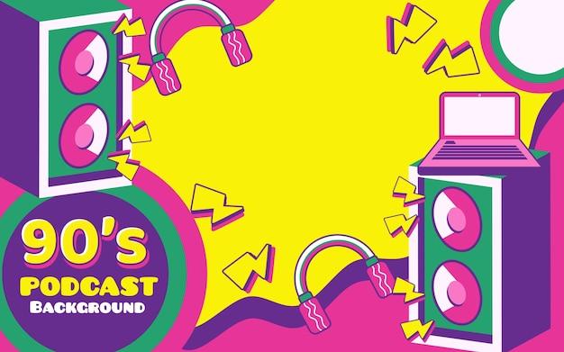 Banner de fondo vintage retro de podcast con logotipos