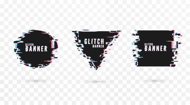 Banner de forma geométrica con efecto de distorsión - glitch. cartel moderno de tecnología digital y plantilla de volante. aislado sobre fondo transparente
