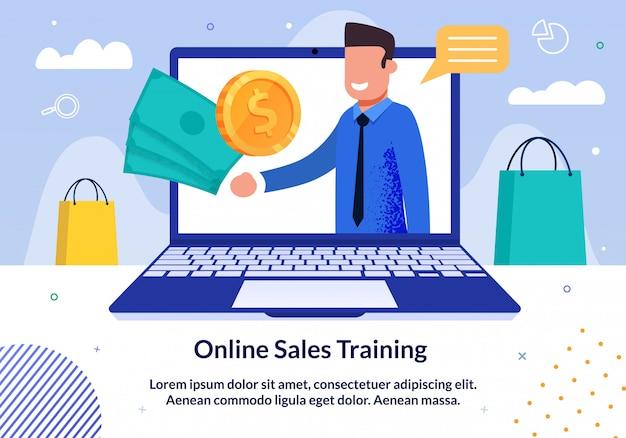 Banner de formación comercial de ventas en línea