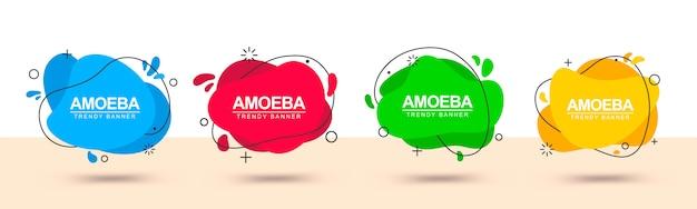 Banner con formas abstractas rojas, verdes, amarillas y azules