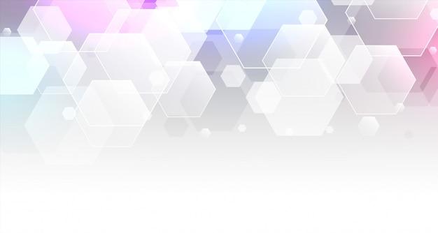 Banner de formas hexagonales transparentes blancas