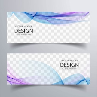 Banner con formas onduladas azules y púrpuras